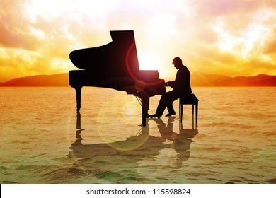 Stock image of a man silhouette playing piano on water