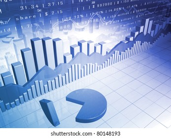The Stock Market with 3D pie chart and market data