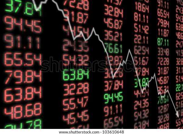 Stock Market - Arrow Aiming Down on Display With Red and Green Figures
