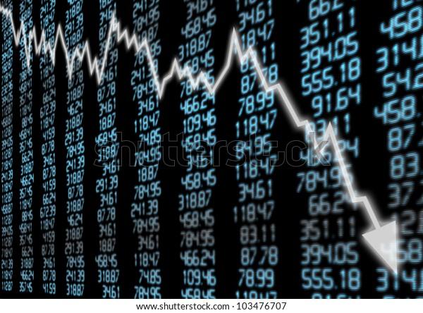 Börsenmarkt - Bogenschießen auf blauem Display