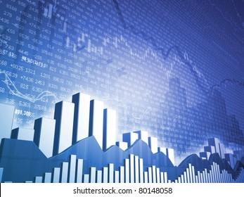 Stock market bars & charts with random finance data