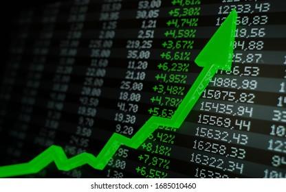 Stock market boom, financial gains, safe investment concept. Green arrow soaring over financial figures. Digital 3D render.