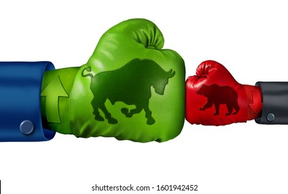 Stock market bullish economics and investing in a bull economic period as a financial and finance battle with strong positive market forces with 3D illustration elements.