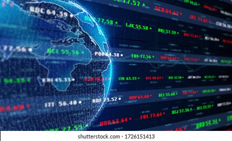 Stock Market Business World Financial Exchange Trade Chart Dashboard Monitoring n Perspective View Illustration Background.