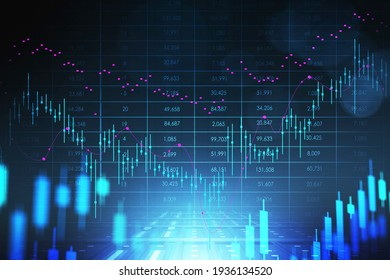 Stock market changes, business graph chart. Rising and falling candlesticks, online trading. 3D rendering