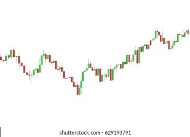 Stock market chart 3D rendering isolated on white background