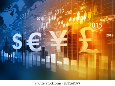 Stock market chart graph with global currencies