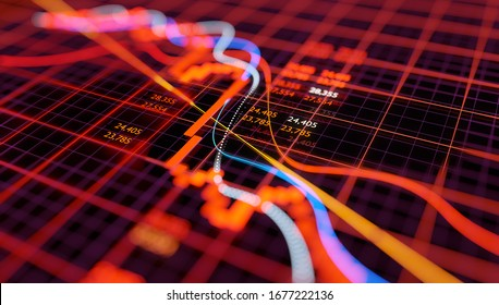 Stock market chart showing falling equity prices after a sudden crash. Bear market 3D illustration.