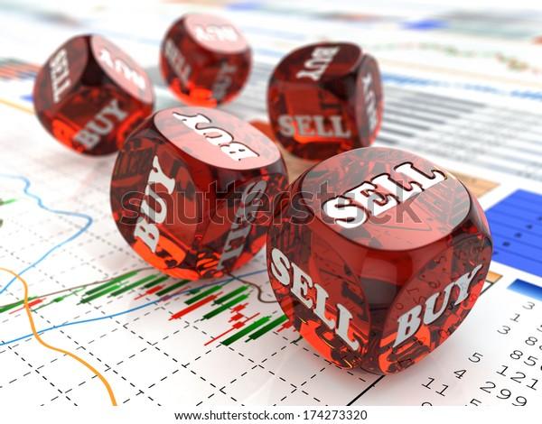 Stock market concept. Dice on financial graph. 3d