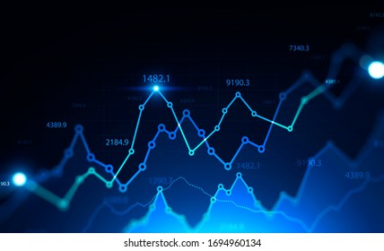 Stock market concept. Glowing futuristic blurry blue digital graphs over black background. Trading and financial market. 3d rendering toned image