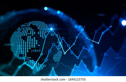 Stock market and finance concept. Glowing digital forex graphs and blurry planet hologram over black background. 3d rendering toned image double exposure