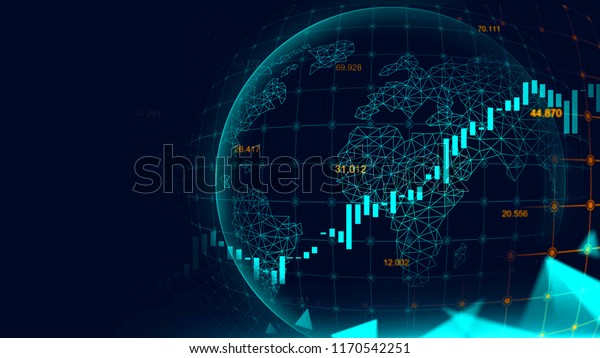 Stock market or forex trading graph in futuristic concept with copyspace suitable for financial investment or Economic trends business idea and all art work design. Abstract finance background