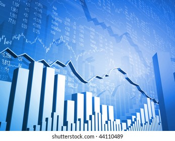 Stock Market Graph with 3D Market Indicators