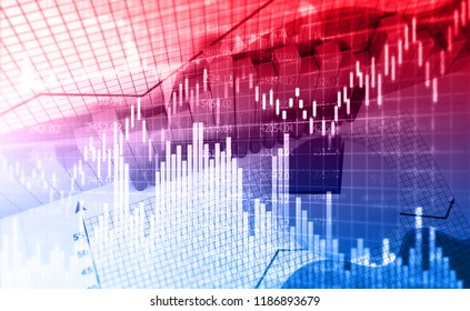 Stock market graph. Abstract finance background. 3d illustration