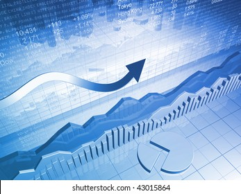 Stock Market Graph with Pie Chart and Up Arrow