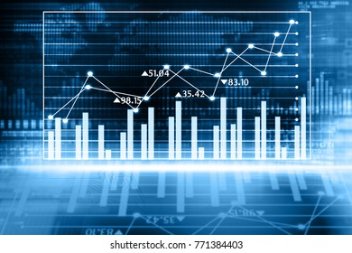 Stock market graphs. Digital illustration