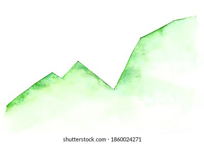 Stock market green up graph. Watercolor hand drawn on paper. Texture illustration