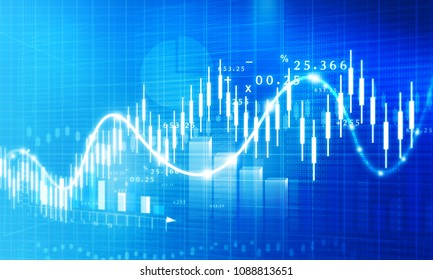 Stock market growth chart. Digital illustration