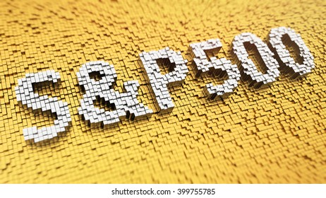 Stock market index. Pixelated word S&P500 made from matrix mosaic cubes. 3D illustration image