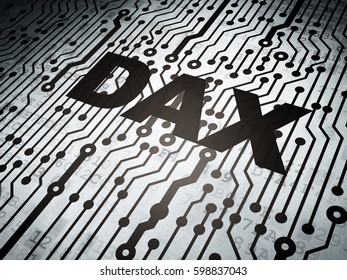 Stock market indexes concept: circuit board with  word DAX, 3D rendering