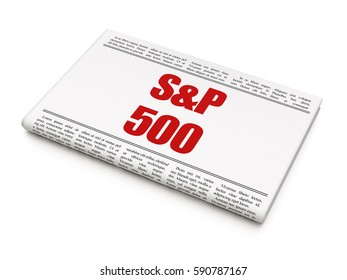 Stock market indexes concept: newspaper headline S&P 500 on White background, 3D rendering