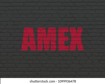 Stock market indexes concept: Painted red text AMEX on Black Brick wall background