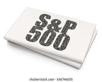 Stock market indexes concept: Pixelated black text S&P 500 on Blank Newspaper background, 3D rendering