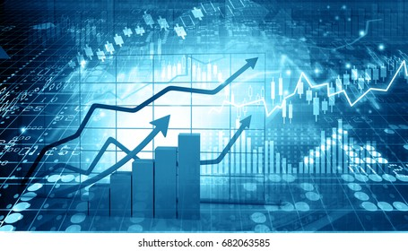 Stock market report. 3d illustration