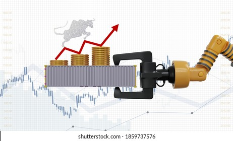 Stock market streams up with export product and white chart background. Gold coin with red arrow chart up on Container and holding on robot hand. 3d render.
