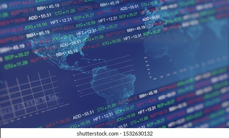 Stock market tickers with graphs and charts. Digital animation of Stock market prices changing.