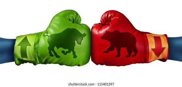 Stock market trading business concept with two boxing gloves with arrows going up and down with bull and bear icon emblems stitched to the glove as investment decisions and financial success.