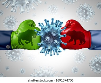 Stock Market virus economic pandemic outbreak and financial equities fear or bull and bear economy crisis and sick economy health as a business recession concept with 3D illustration elements.