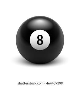 Stock raster illustration eight ball isolated on white background. 3D illustration