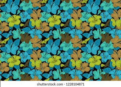 Stock raster illustration. Seamless pattern of abstrat hibiscus flowers in blue, black and green colors. Vintage style.
