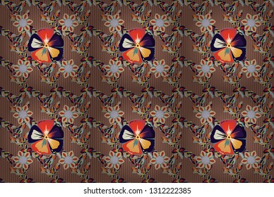 Stock raster illustration. Seamless pattern of abstrat cosmos flowers in brown, beige and gray colors. Vintage style.