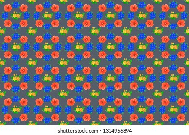 Stock raster illustration. Seamless pattern of abstrat cosmos flowers in blue, gray and orange colors. Vintage style.