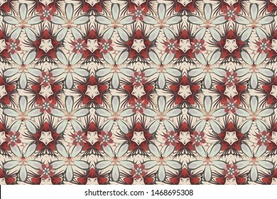 Stock raster illustration. Seamless pattern of abstrat flowers in beige, gray and brown colors. Vintage style.