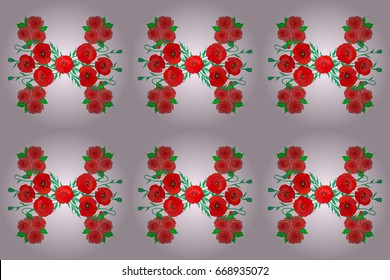 Stock raster illustration. Seamless pattern of abstrat poppy flowers on a beige background. Vintage style.