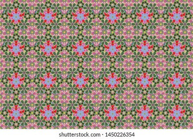 Stock raster illustration. Vintage style. Seamless pattern of abstrat flowers in red, green and pink colors.