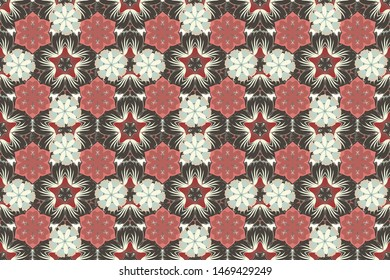 Stock raster illustration. Vintage style. Seamless pattern of abstrat flowers in gray, beige and pink colors.