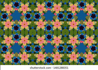 Stock raster illustration. Vintage style. Seamless pattern of abstrat flowers in green, blue and yellow colors.