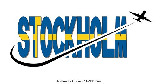 Stockholm flag text with plane silhouette and swoosh illustration