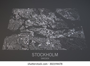 Stockholm map, satellite view, city Sweden, 3d, black and white