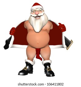 The Stockings Were Hung: Santa opening his coat to flash. Not wearing pants, nether region hidden by a stocking. Isolated on white. Bah Humbug Series