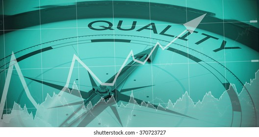 Stocks and shares against compass pointing to quality