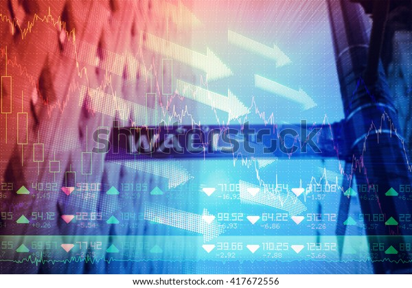 Stocks and shares against wall street