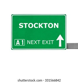 STOCKTON road sign isolated on white