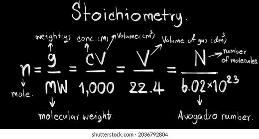 Stoichiometry in chemistry subjects equation on blackboard, chalkboard