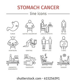 Stomach cancer line icons. Symptoms and diagnosis. Medical infographics. Medical infographics for web design.