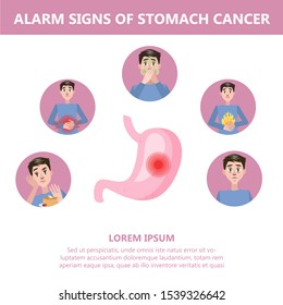 Stomach cancer signs and symptoms. Weightloss and appetite loss. Dangerous disease. Idea of medical treatment and healthcare. Isolated  illustration in cartoon style
